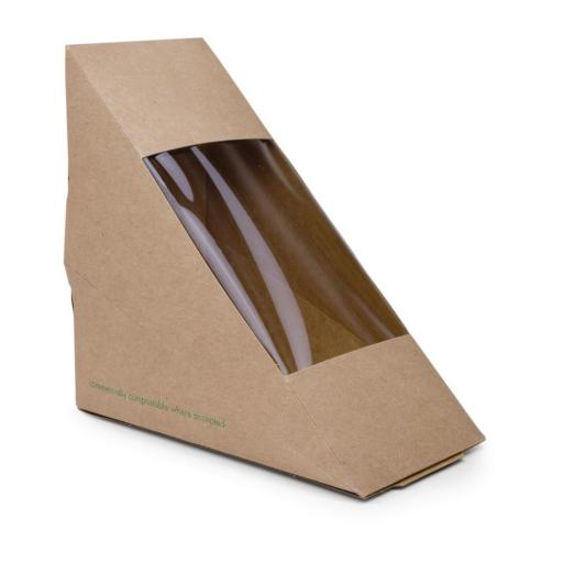 Paquete con 500 cajas de papel compostable con ventanilla para sandwich Vegware DW624