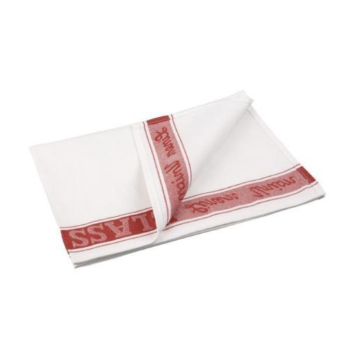Paño de lino para cristalería color rojo Vogue E910