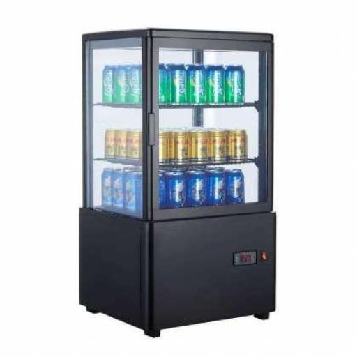 Expositor refrigerado negro 4 caras de cristal 58L Pekin XC58L-N