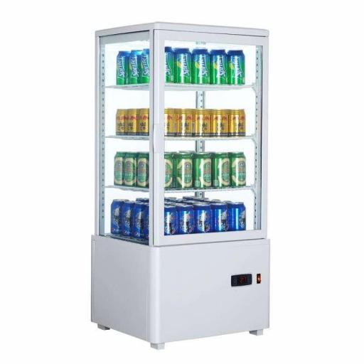 Expositor refrigerado blanco 4 caras de cristal 78L Pekin XC78L-B