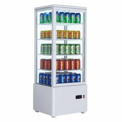 Expositor refrigerado blanco 4 caras de cristal 98L Pekin XC98L-B