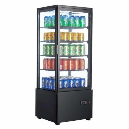 Expositor refrigerado negro 4 caras de cristal 98L Pekin XC98L-N