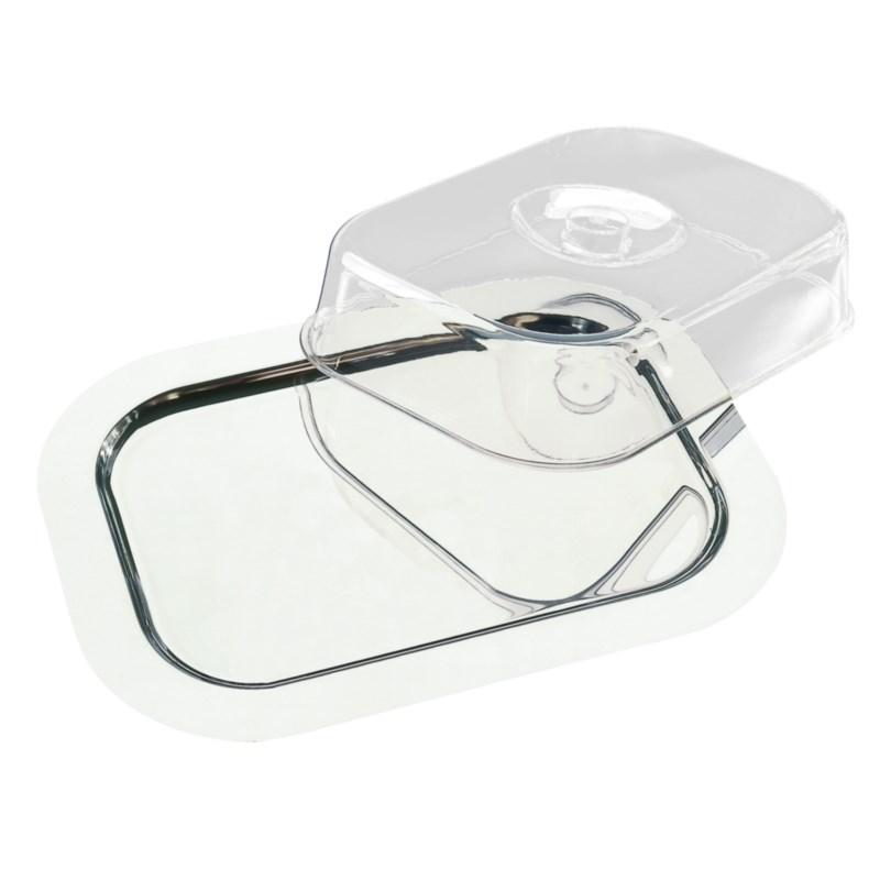 Bandeja rectangular de acero inoxidable con tapa transparente APS F762