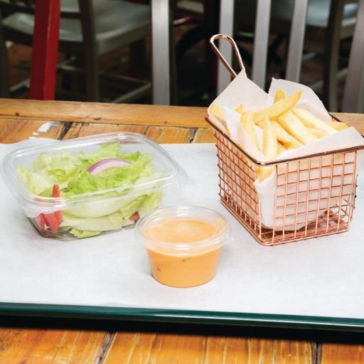 Caja de 200 envases compostables PLA 340ml. con tapa abatible Deli Fiesta Green FA551