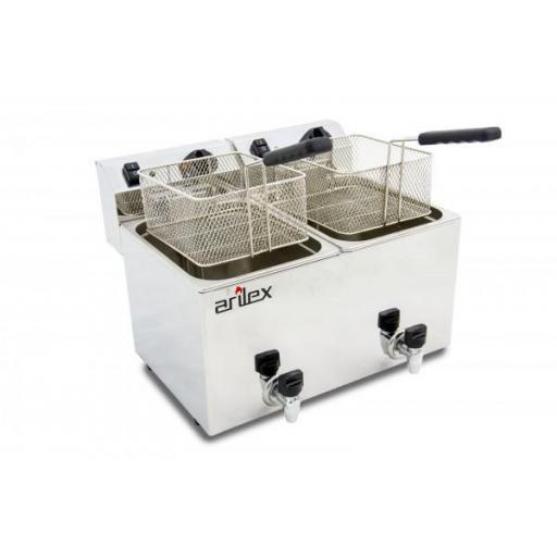 Freidora eléctrica doble de 10+10 litros con grifos de vaciado Arilex Evolution EVO1010G