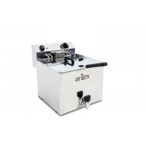 Freidora eléctrica de 12 litros 7,5kW trifásico con contactor con grifo de vaciado Arilex Evolution EVO12GTR
