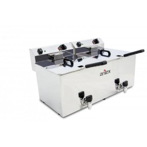 Freidora eléctrica doble de 12+12 litros con grifos de vaciado Arilex Evolution EVO1212G