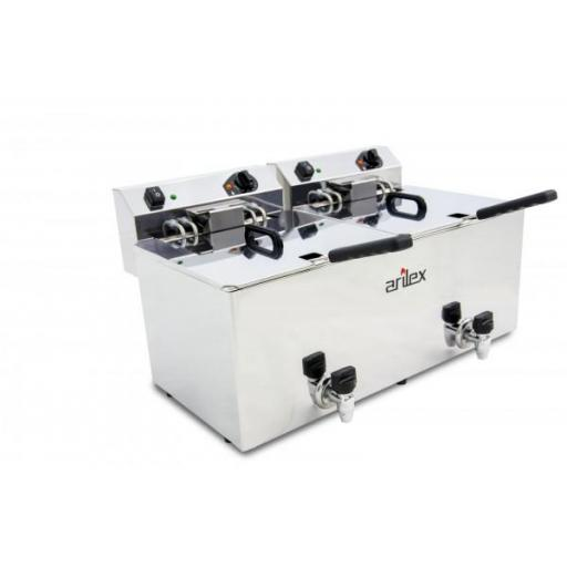 Freidora eléctrica doble de 12+12 litros con grifo 7,5kW + 7,5kW con contactor Arilex Evolution EVO1212GTR