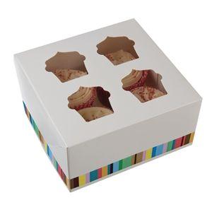 Caja para 4 cupcakes o magdalenas (Lote de 4 cajas) GG231