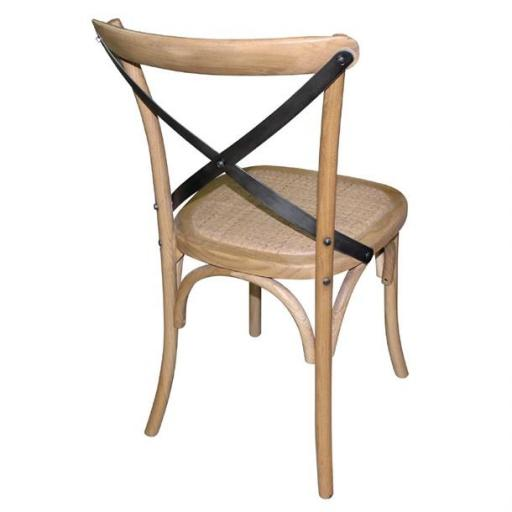 Juego de 2 sillas de madera con respaldo en cruz color natural Bolero GG656 [1]