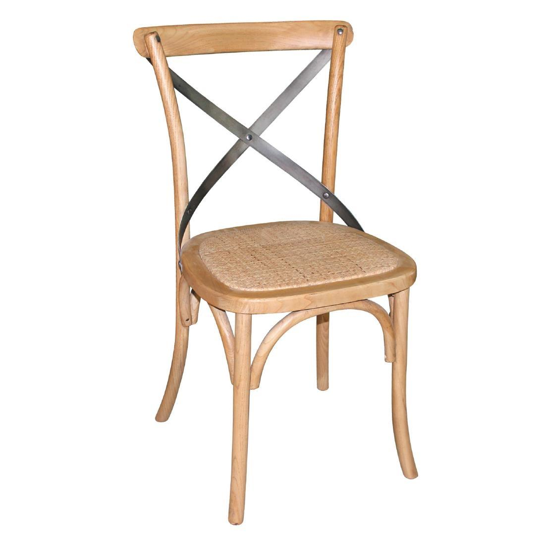 Juego de 2 sillas de madera con respaldo en cruz color natural Bolero GG656