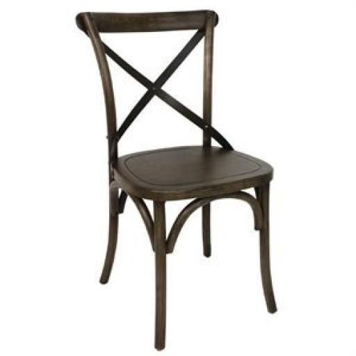 Juego de 2 sillas de madera con respaldo en cruz color marrón Bolero GG658 [1]
