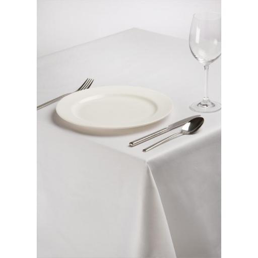 Mantel rectangular de poli/algodón blanco liso  [0]