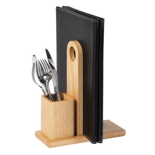 Porta menús de madera con soporte para cubiertos Olympia GH307