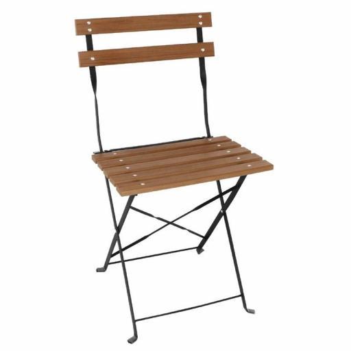 Juego de 2 sillas de terraza imitación madera plegables Bistro Bolero GJ766