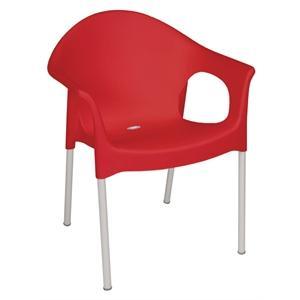 Juego de 4 sillas con brazos Bolero aluminio y polipropileno roja apilable GJ972