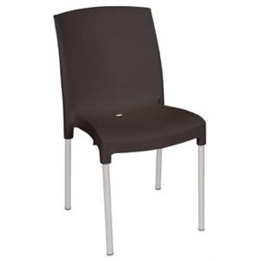 Juego de 4 sillas aluminio y polipropileno negra Bolero apilable GJ976