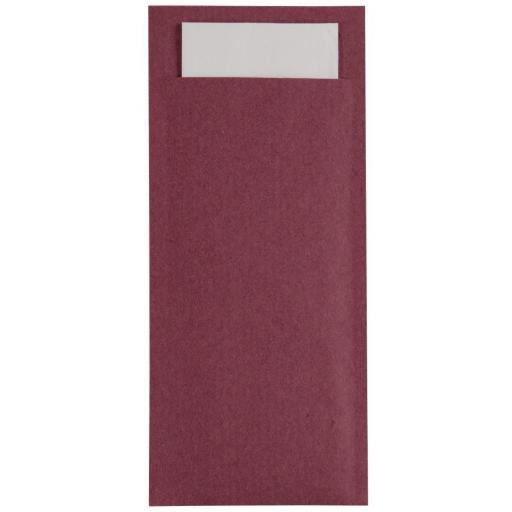 Caja de 600 fundas de papel burdeos para cubiertos con servilleta Europchette GK916