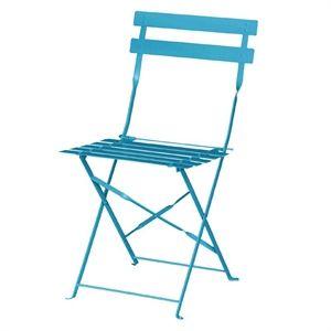 Juego de 2 sillas plegables de acero para terraza color azul Bolero GK982