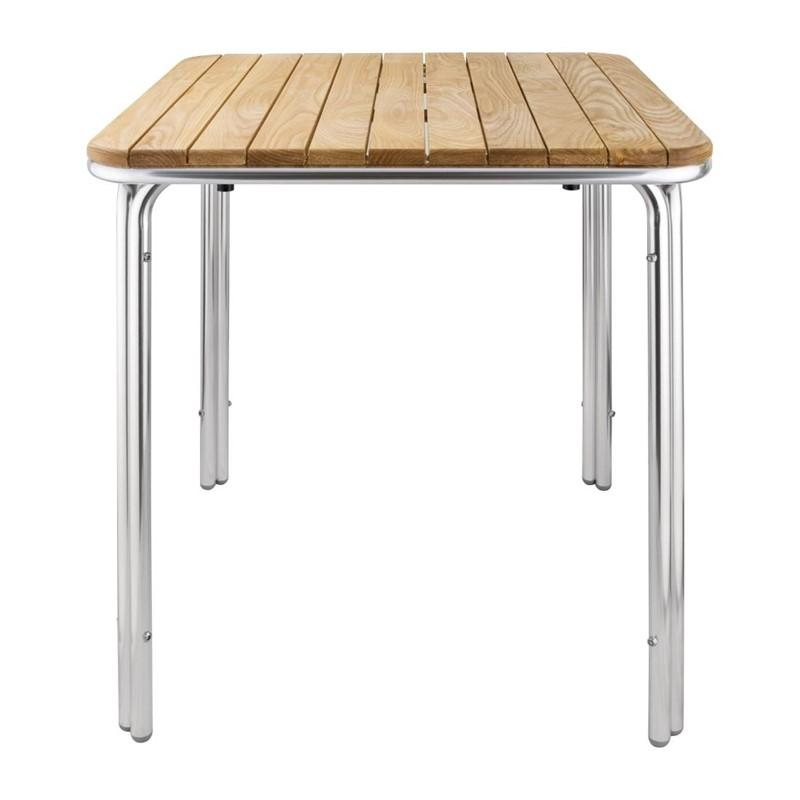 Mesa cuadrada de fresno y aluminio 700mm. apilable Bolero GL982