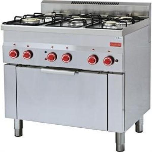 Cocina a gas de 5 fuegos y horno Gastro M fondo de 60cm. ancho de 90cm. GN014