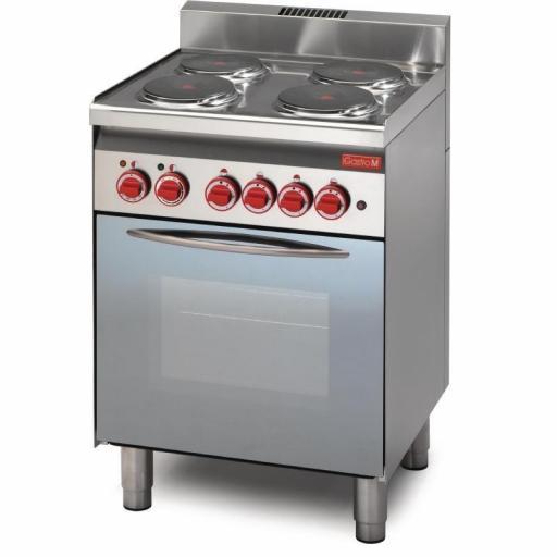 Cocina eléctrica 4 placas y horno de convección 60/60CFE línea 600 Gastro M GN015