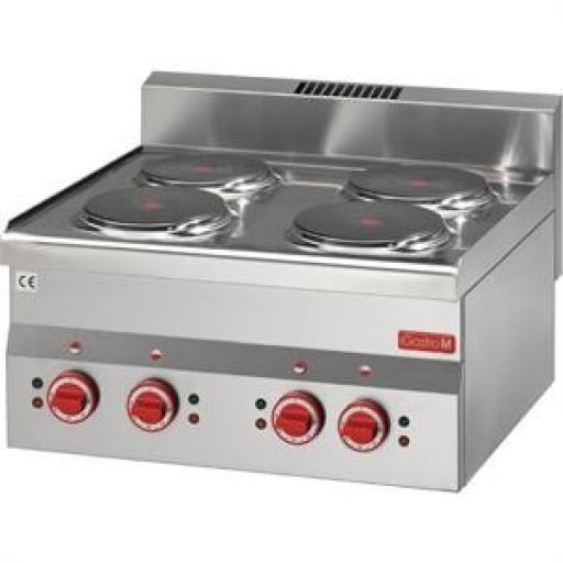 Cocina eléctrica de 4 placas 60/60PCE línea 600 Gastro M GN018