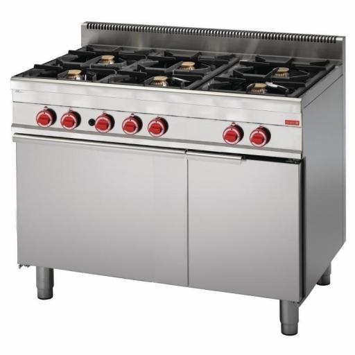 Cocina a gas de 6 fuegos y horno 65/110 CFG línea 650 Snack Gastro M GN048