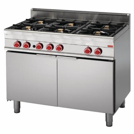 Cocina a gas de 6 fuegos y horno a gas 65/110 CFGG línea 650 Snack Gastro M GN050