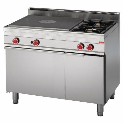 Cocina a gas de 2 fuegos, placa radiante y horno 65/110 TPFG línea 650 Snack Gastro M GN052