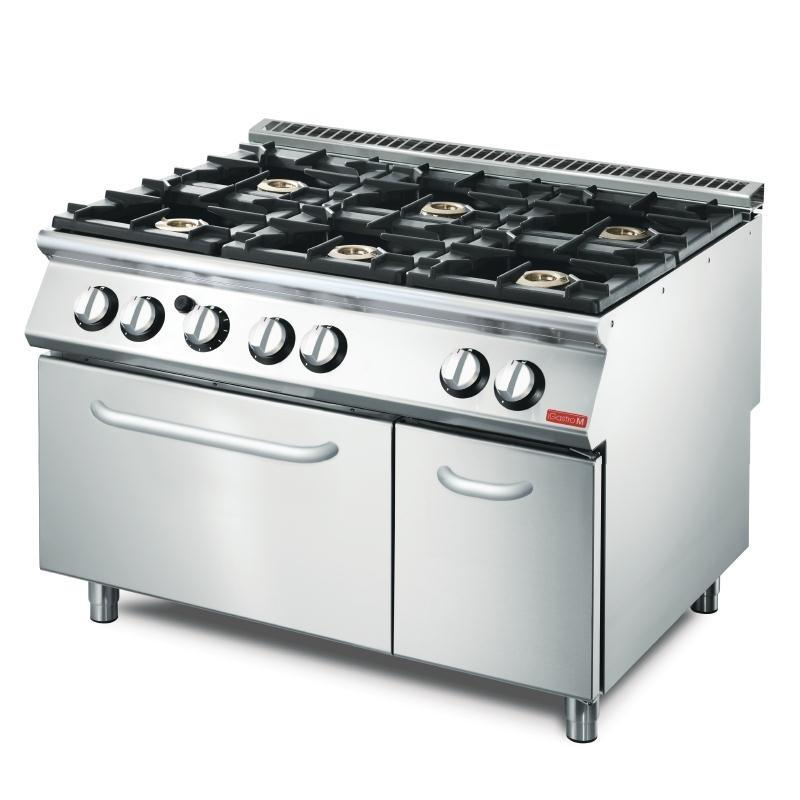 Cocina a gas de 6 fuegos y Horno Línea 700 Gastro-M VS70/120CFG GN083