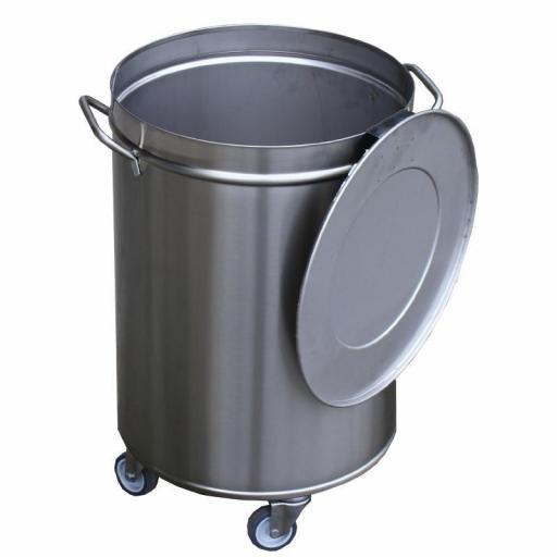 Cubo de basura de acero inoxidable con ruedas y tapa 100L. Gastro M GN146