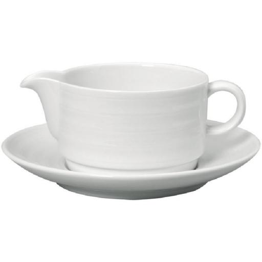 Salsera de porcelana blanca con plato Intenzzo 280ml GR018