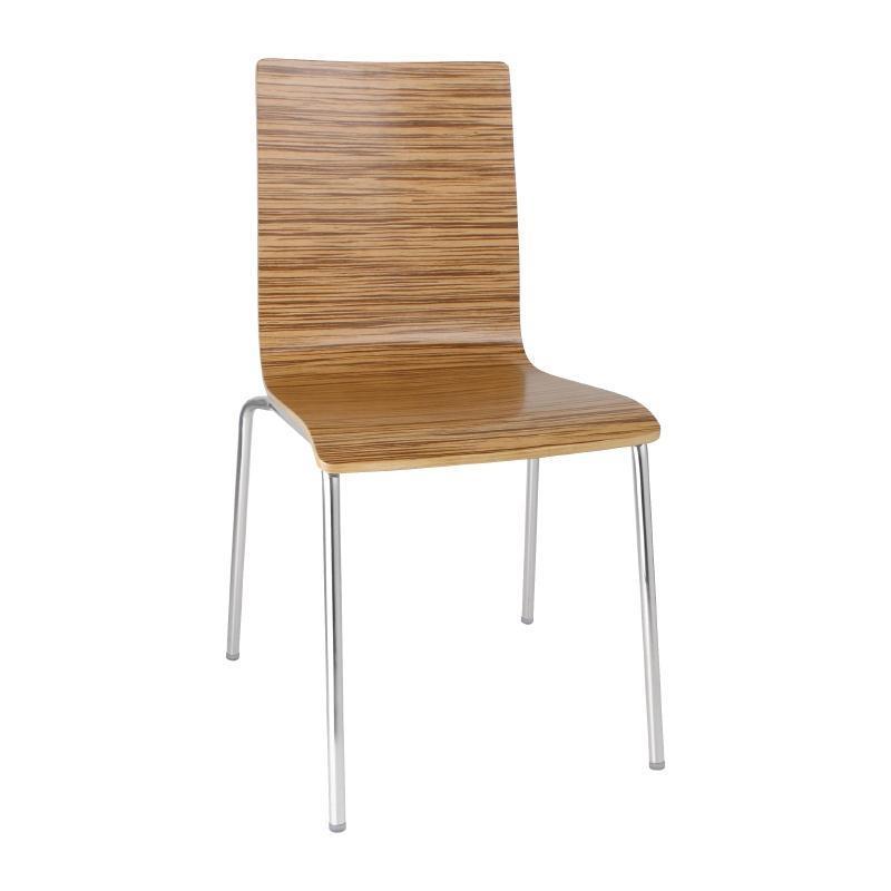 Juego de 4 sillas apilables con respaldo cuadrado color zebra Bolero GR344