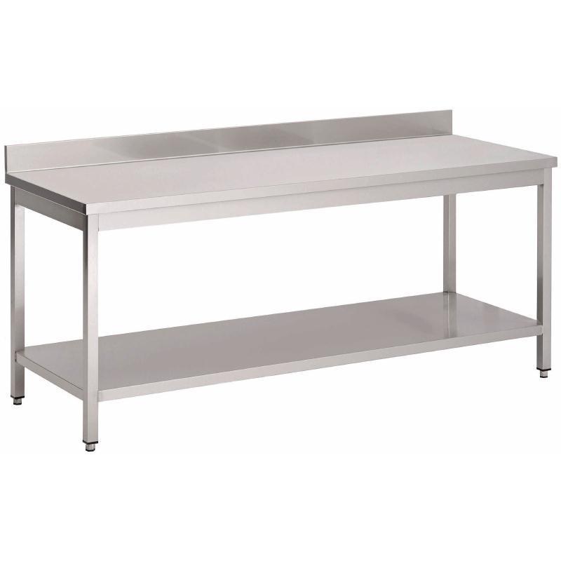 Mesa de acero inoxidable con estante y con peto Gastro M