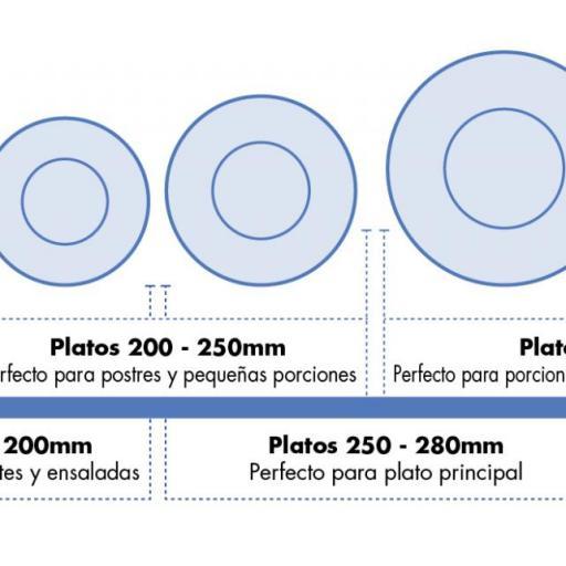 Juego de 6 platos llanos de borde ancho blancos de melamina Kristallon Olympia [2]