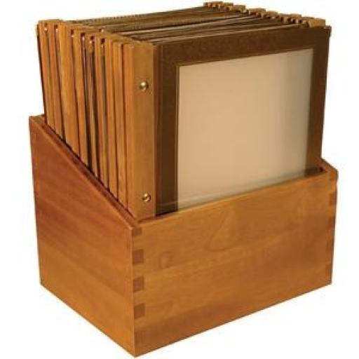 Juego de 20 porta menús A4 de madera Securit [1]