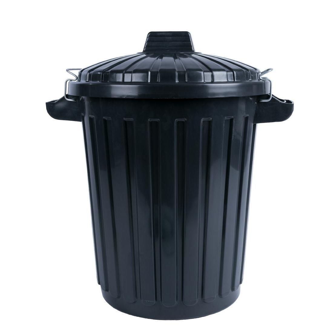 Cubo de basura negro con tapa y cierre 70L. Curver L544
