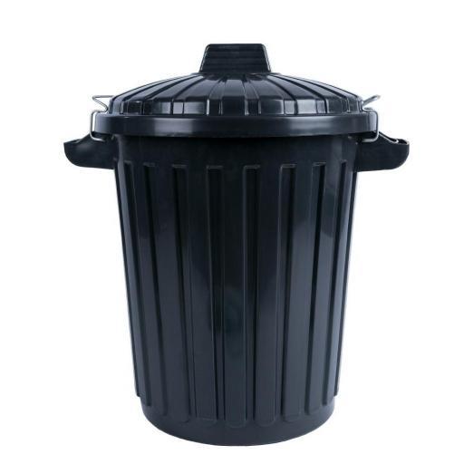 Cubo de basura negro con tapa y cierre 70L. Curver L544 [0]