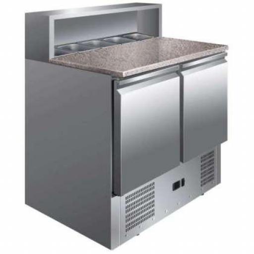 Mesa fría de preparación de 2 puertas GN1/1 con encimera de granito Pekin PS900