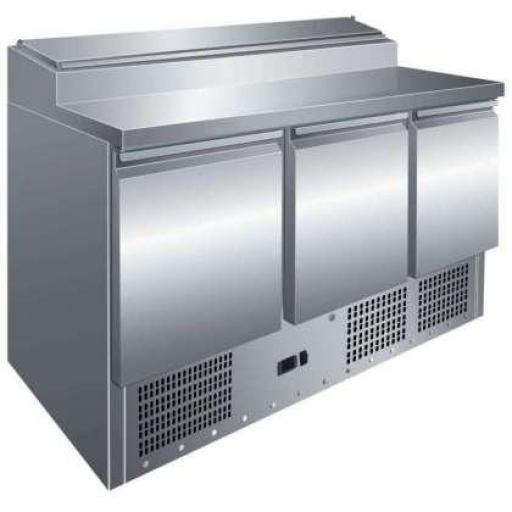 Mesa fría de preparación de ingredientes de 3 puertas GN1/1 Pekin PS300