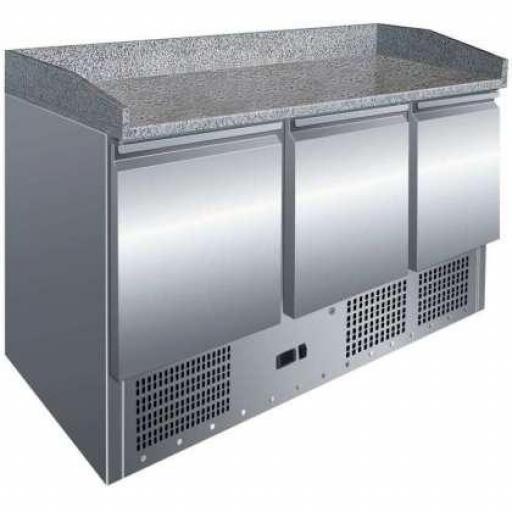 Mesa fría de preparación de pizza de 3 puertas GN1/1 con encimera de granito Pekin S903PZ