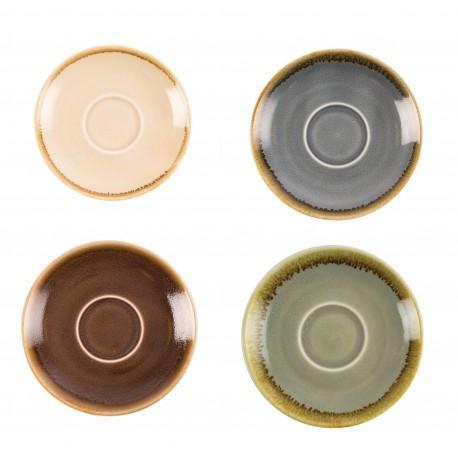 Juego de 6 platos de 140mm. para taza de cafe 230ml. Olympia Kiln