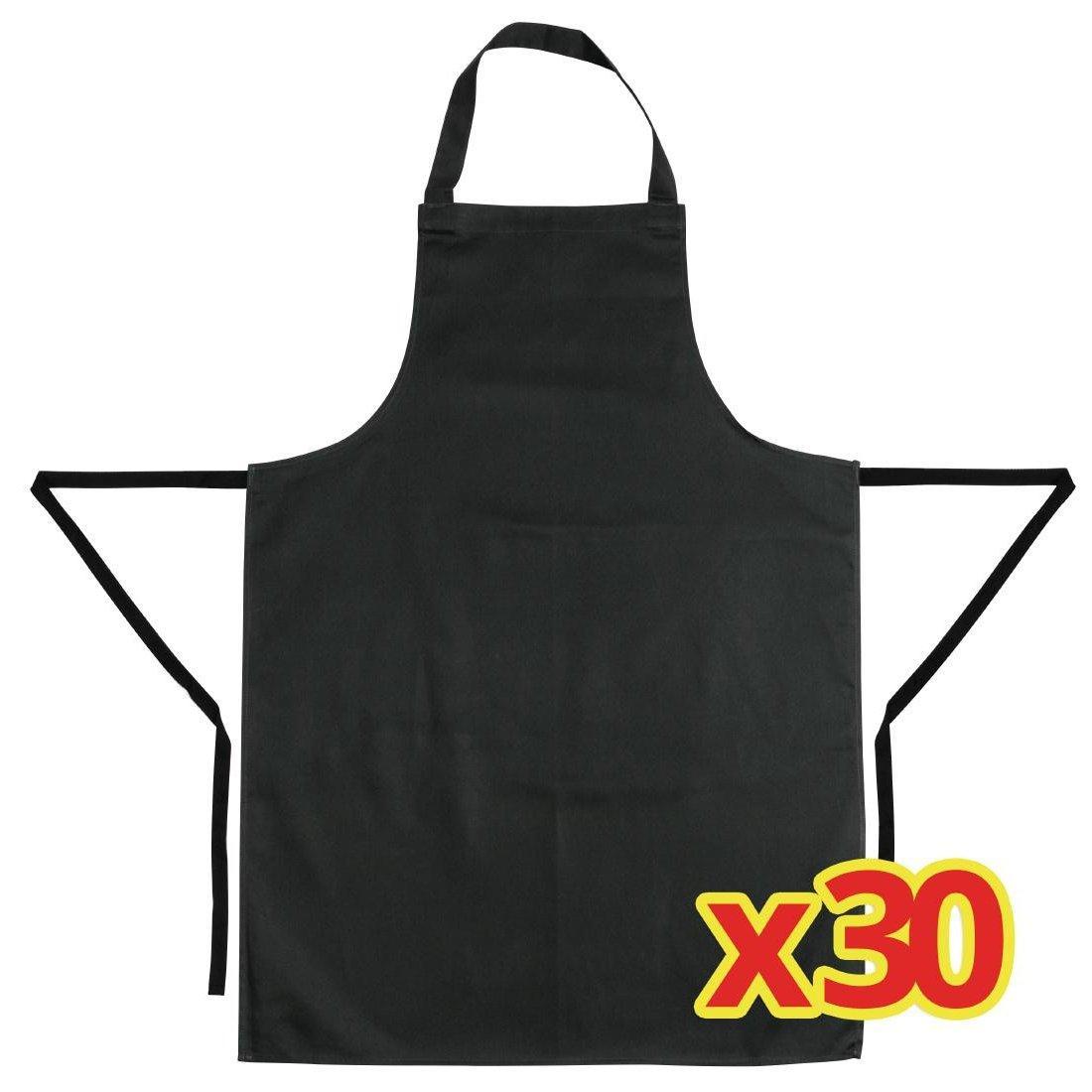 Pack de 30 delantales con peto color negro Whites S273