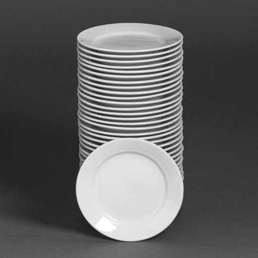 Juego de 36 platos llanos de postre con borde ancho Athena Hotelware S606