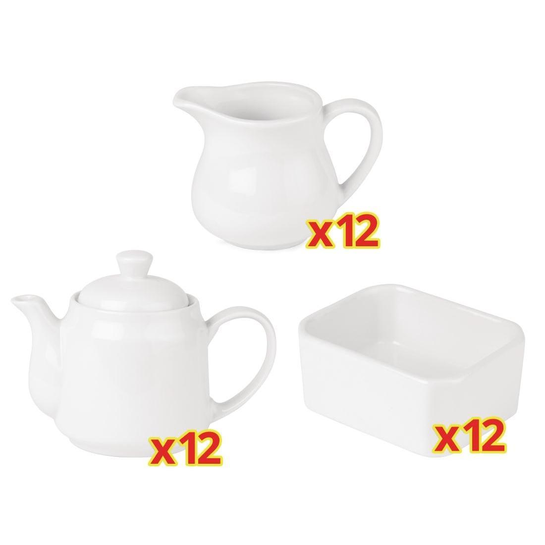 Combo para servir el té: Tetera, Lechera y soporte para sobres Athena Hotelware S709 (Pack de 12)