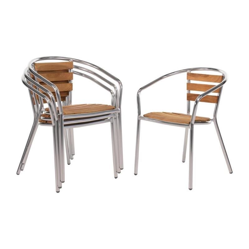Juego de 4 sillas de terraza de aluminio y fresno 730mm.apilables Bolero U421