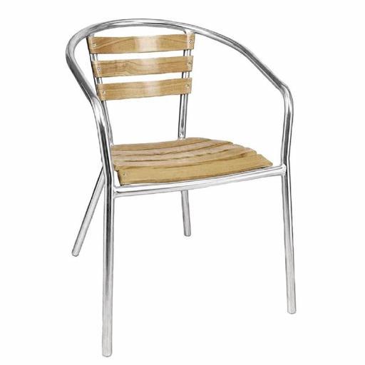 Juego de 4 sillas de terraza de aluminio y fresno 730mm.apilables Bolero U421 [3]