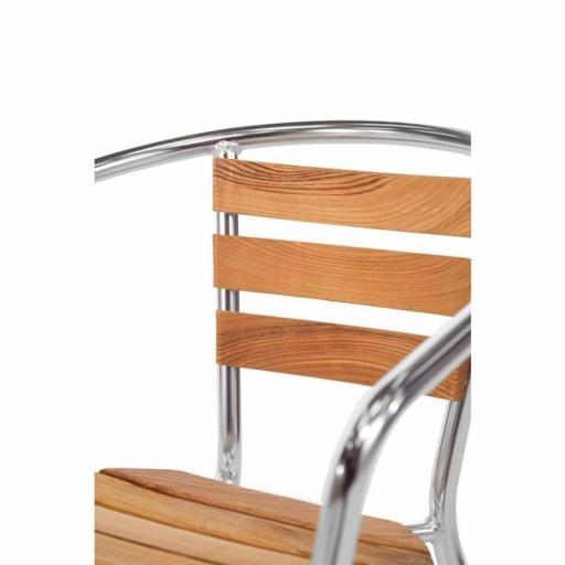 Juego de 4 sillas de terraza de aluminio y fresno 730mm.apilables Bolero U421 [1]