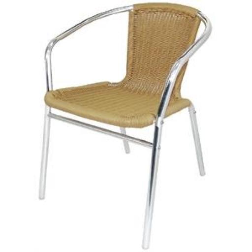 Juego de 4 sillas de terraza de aluminio y polietileno imitación mimbre apilables Bolero U422 [0]